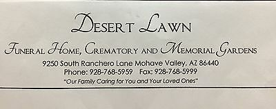 Cemetery Niche and Direct Cremation - $2000 (Desert Lawn, Mohave Valle - $2000