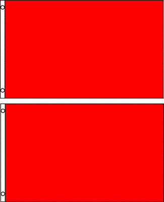 (2 pack lot) 3x5 Red Solid Plain Blank Color Flag 3'x5' Banner Grommets