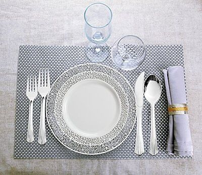 Lace 240 Piece Plastic Plate Silver Ware 40 People Cutlery Wedding Party Picn...