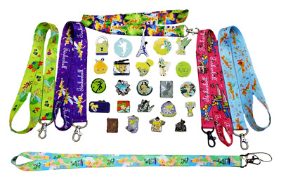Tinkerbell Themed Starter Lanyard Set with 5 Disney Park Trading Pins ~Brand NEW