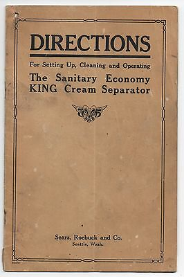 1920s Booklet of Directions for the King Cream Separator Sears Roebuck Seattle