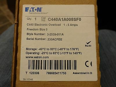 EATON CUTLER HAMMER C440A1A005SF0 C440 Electronic Overload Relay 3 2539 011A