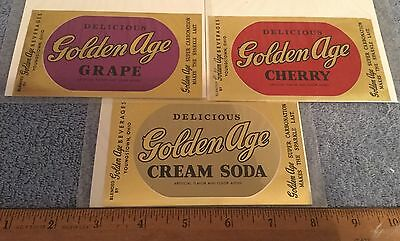 Vintage 3 Lot Golden Age Soda Label Grape Cherry Cream Soda Foil