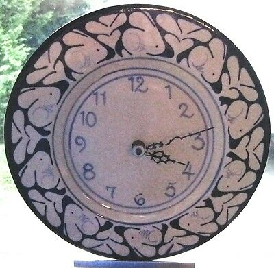 Blue Ceramic Wall Clock. DEDHAM RABBITS Nash Pottery 1990 PLATE