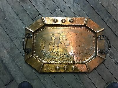 Arts and Crafts Craftsman Mission Hand Hammered COPPER TRAY Western PROVO HS