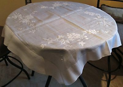 Antique Linen Lawn Square Tablecloth Fabulous Embroidered Florals Hemstitched