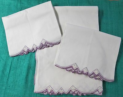 Antique Sheet Set Purple Hand Crocheted Trim Queen Elegant Freshly Laundered