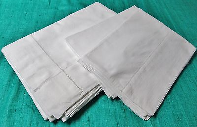 Antique Sheet & Pillow Case Set Drawnwork Bands Elegant Simplicity