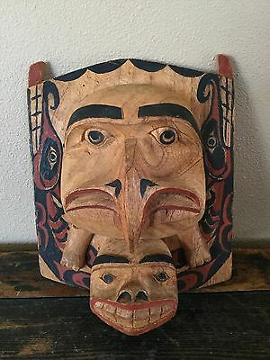 native Pacific NW Kwakiutl Raven and Sea Serpent Siskuitl Carved Frontlet, Mask