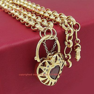 Solid Rose Gold GF Belcher Chain Ring Clasp Heart Padlock Ruby Diamond Necklace