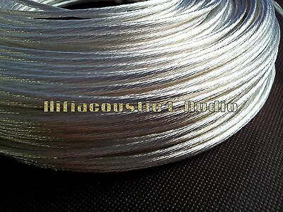 1FT hifi OCC Silver Plated Wire 2.8mm 9AWG Teflon DIY Speaker Power audio cable