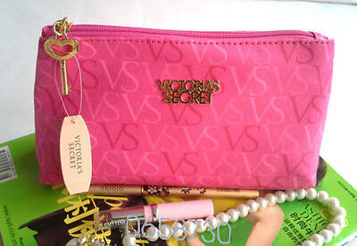 Victoria's Secret makeup Rose Red Cosmetic Bag VS Clutch Bag Zipper Wallet