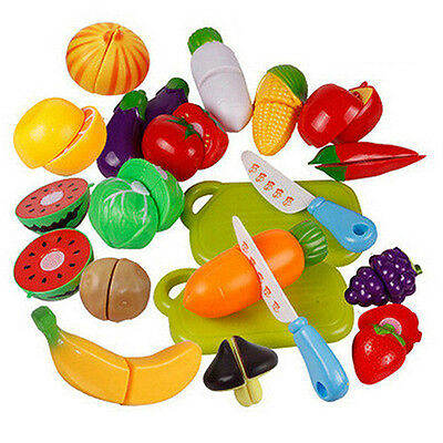 Child Plastic Fruit Vegetable Food Pretend Reusable Role Play Cutting Set Witty