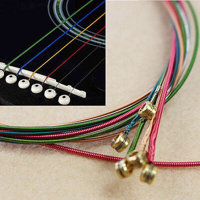 One Set 6pcs Rainbow Colorful Color Strings For Acoustic Guitar Hot Accessory H