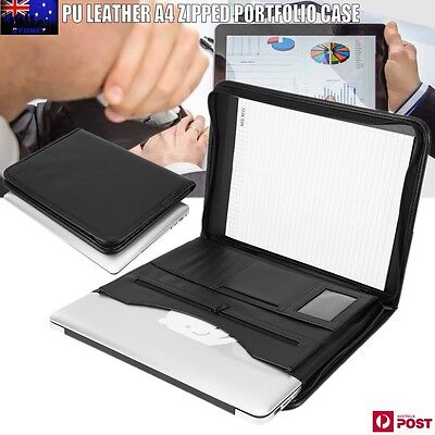 A4 Business Folder Card Folio Organiser Portfolio PU Leather iPad Case Holder AU