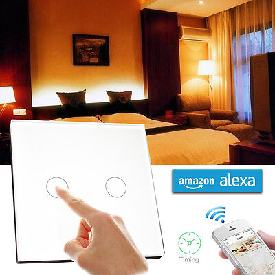 2 Gang 1 Way Wifi Smart Wall Light Switch Touch Panel Work with Amazon Alexa 16A