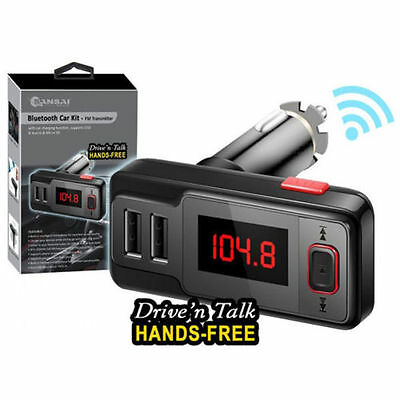 Wireless Bluetooth MP3 Player FM Transmitter Hands free Car Kit Dual USB AUX/SD