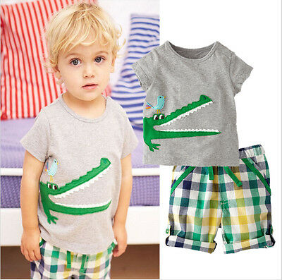 2Pcs Toddler Kids Boy Summer Tops T-shirt Shorts Outfits Set Clothes USA Stock