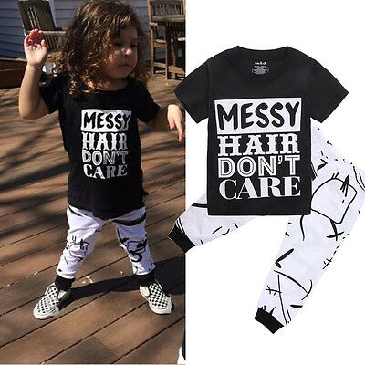 USA 2pcs Toddler Kids Baby Girls T-shirt Tops+Long Pants Leggings Outfit Clothes