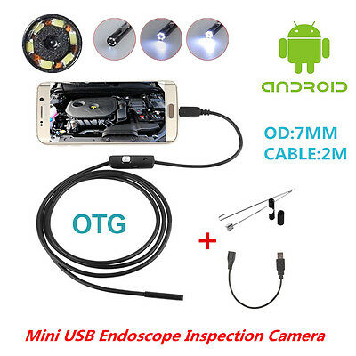 Waterproof OTG 7mm USB Endoscope Inspection Camera Borescope 6LED For Android PC