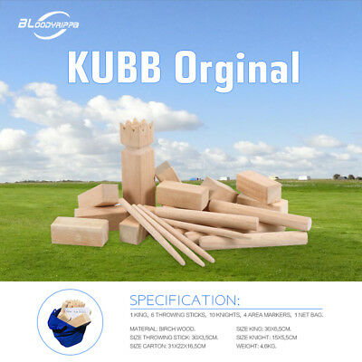KUBB Original Family Garden Game Viking Outdoor Party Chess Sport Wooden w/Bag