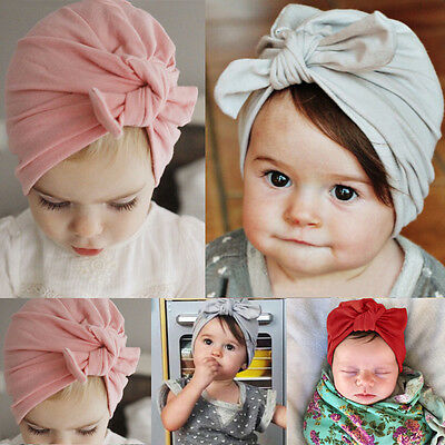 Newborn Baby Toddler Kids Boy Girl Bowknot Soft Cotton Beanie Hat UK STOCK