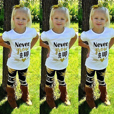 USA Fashion Toddler Kids Baby Girls Outfit Clothes T-shirt Tops+Long Pants 2PCS