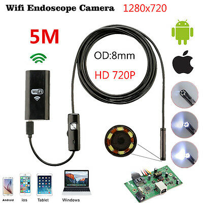 5M USB 6 LED HD Waterproof WiFi Borescope Endoscope Inspection Camera For iPhone