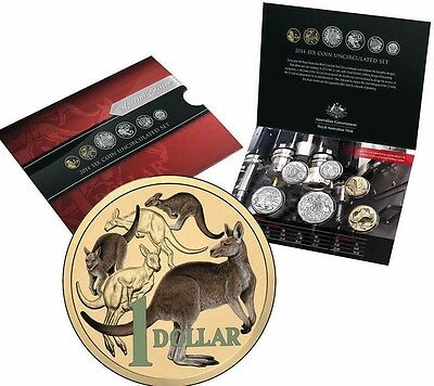 2014 Uncirculated Mint Set   Coloured Mob Of Roos $1 coin NUMBERED