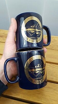 Two United States Air Force One Staffordshire Mug President Blue Gold