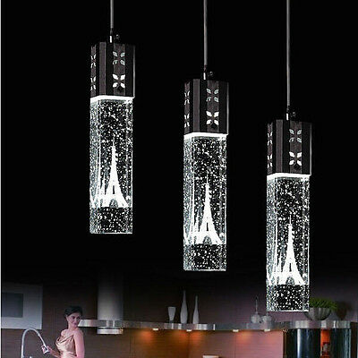 Tower LED Crystal Ceiling Light Bubble Bar Pendant Lamp Lighting Chandelier