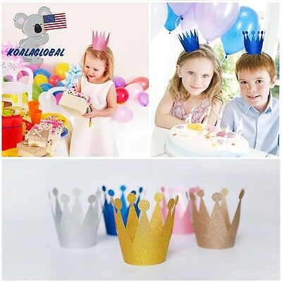 6pcs Adult Child Crown Cap Birthday Baby Shower Hat Prince Princess ShinyPlastic