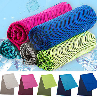 Hot 90x33cm Ice Towel Instant Cooling Towel Heat Relief Cool Fitness Yoga Towels