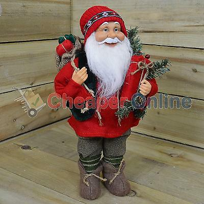 40cm Standing Santa Claus / Father Christmas Green and Red Plush Decoration