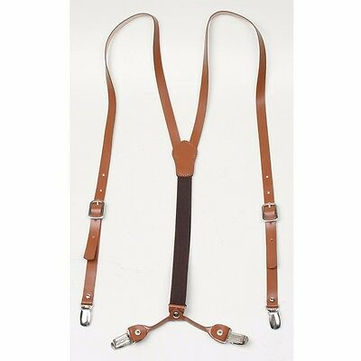 Men Real Cow Leather Suspender Elastic band 4 Clip on type Braces Brown Black
