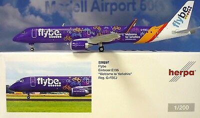 Herpa Wings 1:200  Embraer E195 Flybe G-FBEJ Welcome to Yorkshire   558297
