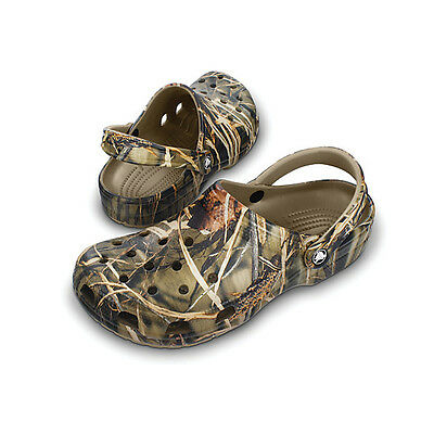 Crocs New Men's Classic Clog Brown Real Tree Camo Fishing Shoe Bivvy Slipper