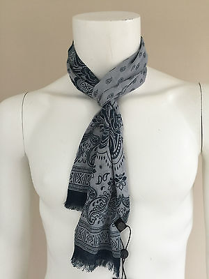 Pretty Green Grey/blue Modal Paisley Lightweight Skinny Scarf Bnwt Retail £40