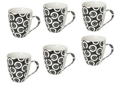 Sabichi Set of 6 Coffee Tea Cup Checkers Hot Drink Handle Porcelain Mug 107504_I