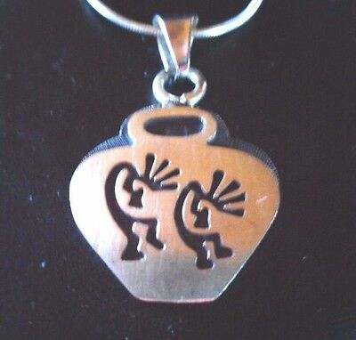 Southwest style etched sterling silver double kokopelli pendant 16 southwest style etched sterling silver double kokopelli pendant 16 ss chain aloadofball Choice Image