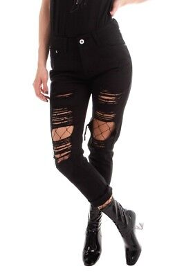 Damen Ripped Boyfriend Jeans Schwarz Jeanshose mit Destroyed Knien Denim