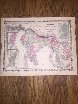 1852 Genuine Antique Hand Colored Map Hindostan/British India By Johnson & Ward