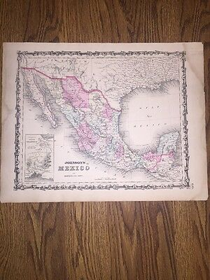 1852 Genuine Antique Hand Colored Map Mexico By Johnson & Ward