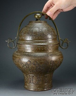 North India / Kashmir Engraved & Pierced Copper Covered Censer, 19th Century