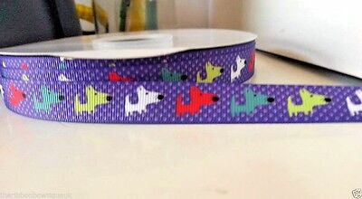 "wide BLUE DACHSHUND DOG PRINTED GROSGRAIN RIBBON TRIM 1 yard 5//8/"" 16mm"