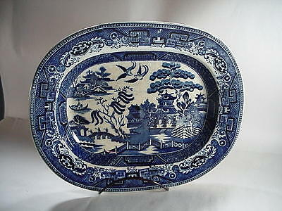 "Blue Willow Oval Serving Platter / Tray - ""Made in England"" Circle Mark  11-1/2"""
