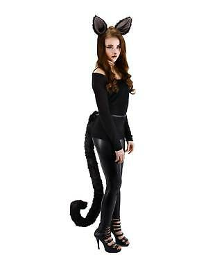 Deluxe Black Cat Oversize Costume Tail Long Furry Kitten Attachable Adult Teen