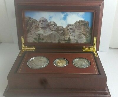 1991 3 Piece Mt. Rushmore Gold & Silver Set In Deluxe Wooden Box