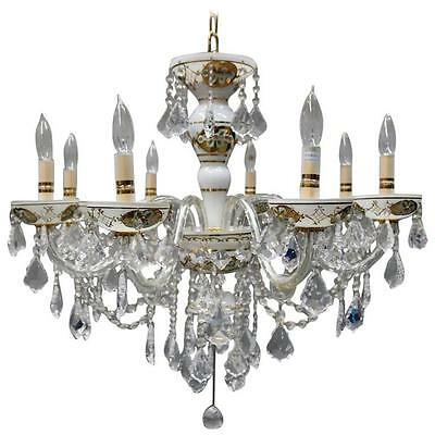 Vintage Bohemian Decorated Cut Crystal Eight-Light Chandelier, circa 1950