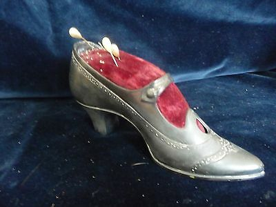 "#315 vtg antique pin cushion Lg. Silver tone Victorian women shoe 7''L x 3 1/4""T"